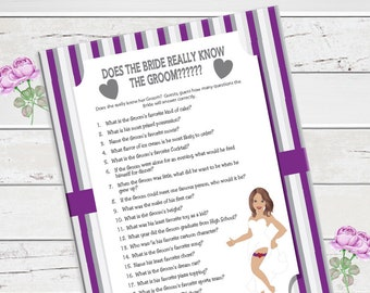 Purple Does the Bride really know the Groom Bridal Shower Game, Purple Bridal Shower Game, Couples Shower Game, D1096