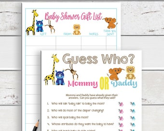 PRINTED Guess Who Baby Shower Game, Printed Baby Shower Games, Safari Theme, Gender Neutral Baby Shower, Animal Theme Baby Shower, D1116P