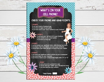 Chalkboard Cell Phone Game, Bridal Shower Game, Confused Bride, Coral, Teal, Wedding Shower Game, Couples Shower Game, D345