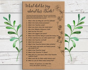 What did he say about his Bride, Bridal Shower Games, Kraft Paper Shower Game, Couples Bridal Shower, D1732
