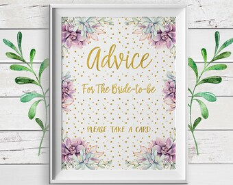 Advice for the Bride, Bridal Shower Game, Gold, Advice Bridal Shower Game, D1761