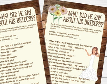 Wood What did he say about his Bride, Bridal Shower Game, Wedding Shower Game, Couples Shower Game, D1134