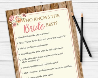 Who Knows the Bride Best Bridal Shower Game, Who Knows the Bride, Rustic Shower Game, Bridal Shower Game, D603