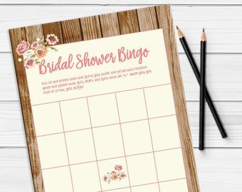 Bridal Bingo Bridal Shower Game, Rustic Bridal Shower game, Couples Shower Game, Engagement Party Game, D1706