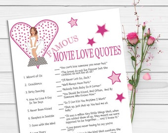 Famous Movie Love Quotes Bridal Shower Games, Wedding Shower Game, Couples Bridal Shower Game, Movie Game, Quotes, D463