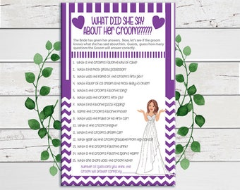 What did she say about her Groom, Bridal Shower Game, Wedding Shower Game, Couples Bridal Shower Game, D790