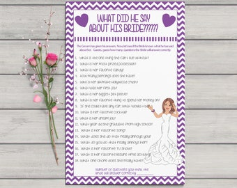 What did he say about his Bride, Bridal Shower Game, Purple Chevron, Confused Bride, Purple Hearts, Instant Download, Couples Shower Game