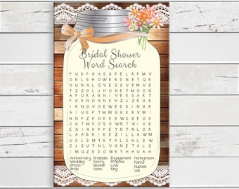 Word Search Bridal Shower Game, Mason Jar, Rustic Wood, Peach Flowers, Lace, Instant Download, Couples Shower Game, D774