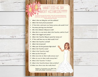 What did he say about his Bride Wedding Shower Game, Bridal Shower Game, Coral Shower Game, Rustic Floral Couples Shower, D1424