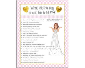 Pink What did he say about his Bride, Bridal Shower Game, Couples Bridal Shower Game, Instant Download