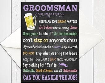 Will You be My Groomsmen Card, Groomsman Proposals, Chalkboard Funny Groomsman Proposal Card, Printed Card, D238