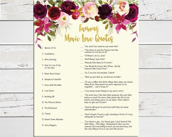 Movie Quotes Bridal Shower Game, Wedding Shower Game, Coed Shower Game, D1596