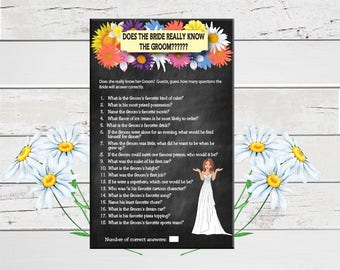 Chalkboard Does the Bride Really know the Groom, Bridal Shower Game, Wedding Shower Game, Couples Shower Game, D797