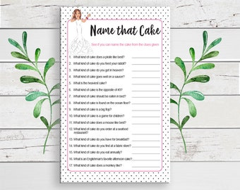 Name that Cake Bridal Shower Game, Cake Bridal Shower Game, D584