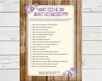 What did he say about his Bride, Bridal Shower Game, Rustic Shower Game, D827