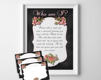 Who am I Shower Game, Bridal Shower Game, Wedding Shower Game, Memory of the Bride, Shower Game, D516