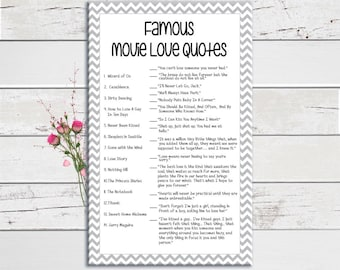 Wedding Shower Game, Loving Movie Quotes, Bridal Shower Game, Gray Chevron, Famous Movies, Couples Bridal Shower Game, D1289