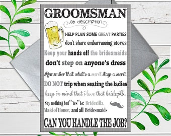Will You be My Groomsmen Card, Funny Bridal Party Card, Groomsman Proposals Card, Printed Card, D236