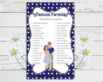 Navy Blue, Famous Parents, Baby Shower Game, Celebrity Baby Game, Pregnant Mommy, Poke-a-Dots, Instant Download, Couples Shower Game, D1254