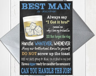 Will You be My Best Man Card, Chalkboard Best Man Card,  Best Man Proposal Card, Best Man Job Card, Printed Best Man Card, D243