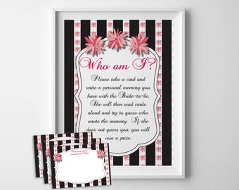 Who Am I Bridal Shower Game, Bridal Shower Game, Memories of the Bride, Wedding Shower Game, Shower Game, Couples Shower Game, D1047