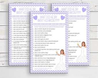 What did he say about his Bride, Bridal Shower Game, Wedding Shower, Game Couples, Shower Game, Instant Download, D777