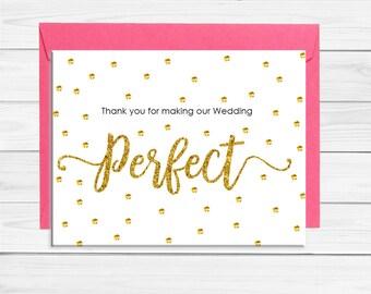 Thank you Card Bridal Party, Wedding Party Card, Gold Glitter, Thank You Card Wedding Party, Wedding Party Thank you, Thank You Card, D1346