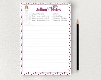 Personalized Notepad with Wedding Planning Theme, Bridal Notepad, Bridal Shower Planning Notepad, Notepad for Bride, Gift for Bride, S1553