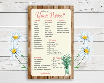 Purse Bridal Shower Game, Whats in your Purse, Bridal Shower Game, Engagement Party Game, Mason Jar, Couples Shower Game, D1083