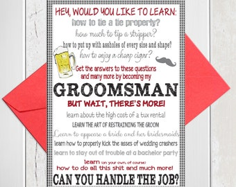 Groomsman Proposal, Will You be My Groomsmen Card, Funny Bridal Party Card, Printed Card, D968