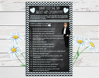 What did she say about her Groom, Bridal Shower Game, Chalkboard, Wedding Shower Game, Couples, D908