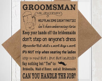 Will You be My Groomsmen Card, Kraft Funny Groomsman Proposal Card, Printed Card, D1850