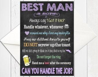 Will You be My Best Man Card, Chalkboard Best Man Card, Best Man Proposal Card, Best Man Job, Printed Best Man Card, D245