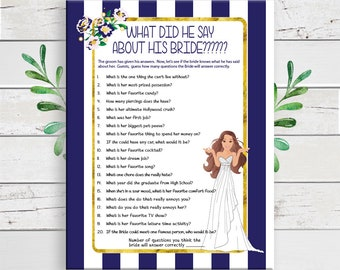 What did he say about his Bride, Bridal Shower Game, Coed Shower Game, D1003