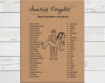Kraft Paper Famous Couples Shower Game, Bridal Shower, Kraft Paper Background, Wedding Shower Game, Couples Shower Game, D1737