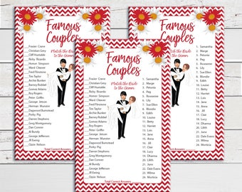 Famous Couples, Bridal Shower Game, Red Flowers, Groom holding bride, Wedding Shower Game, Instant Download, Couples Shower Game, D288