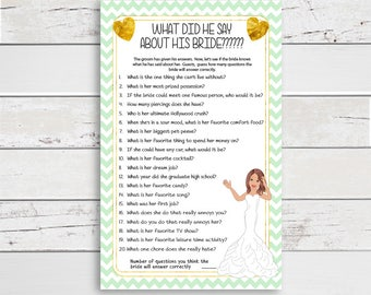 What did he say Bridal Shower Game, Gold, Mint Green, Wedding Shower Game, Couples Shower Game, D1126