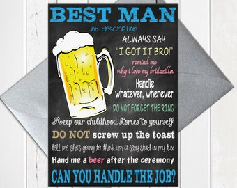 Will You be My Best Man Card, Chalkboard Funny Best Man Proposal with Job Description, Printed Card, D244