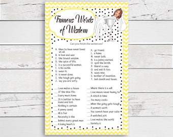Words of Wisdom Bridal Shower Game, Yellow, Bride in Martini Glass, Wedding Shower Game, Couples Shower Game, Instant Download
