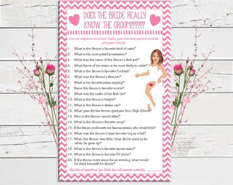 Bridal Shower Game, Does the Bride really know the Groom, Wedding Shower Game, Couples Shower Game, Sexy Bride, Instant Download