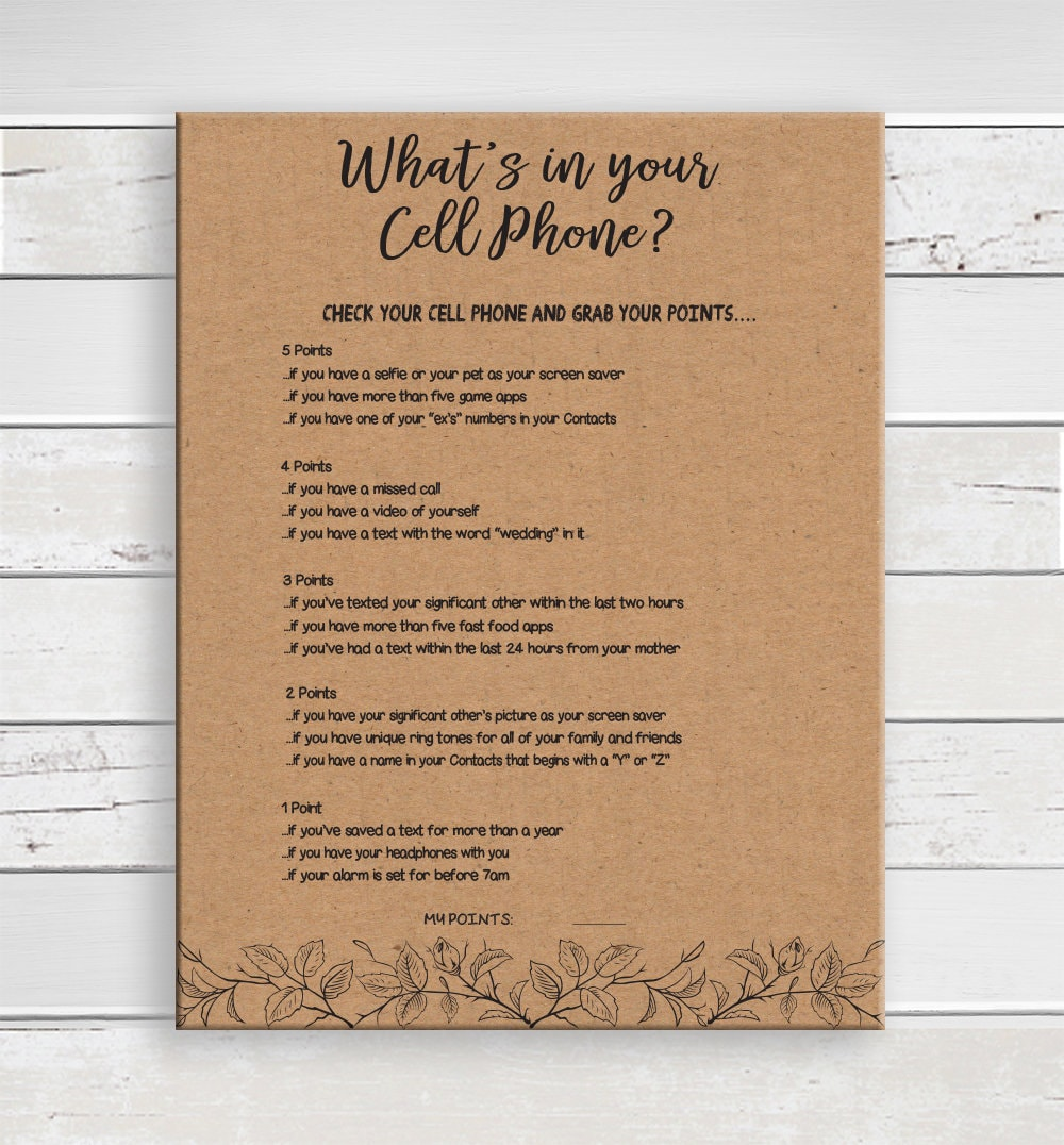 cell phone game  bridal shower game  kraft paper  what u0026 39 s in your cell phone  wedding shower game