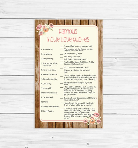 Famous Movie Quotes Bridal Shower Games, Rustic Shower Games, D780