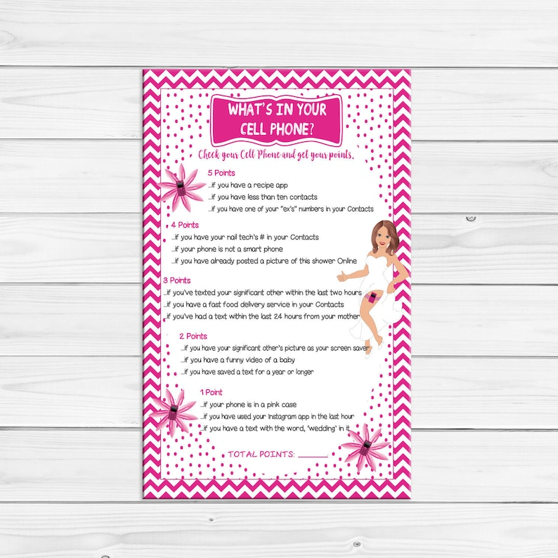 Whats in your Cell Phone, Bridal Shower Game, Sexy Bride, Pink Garter, Pink  Flowers, Pink Chevron, Coed Shower Game, D350