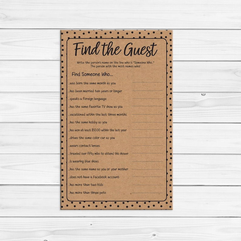 Find the Guest Bridal Shower Game, Find the Guest Game, Printable Find the  Guest, Bridal Shower Games, Kraft Paper Game, D1687