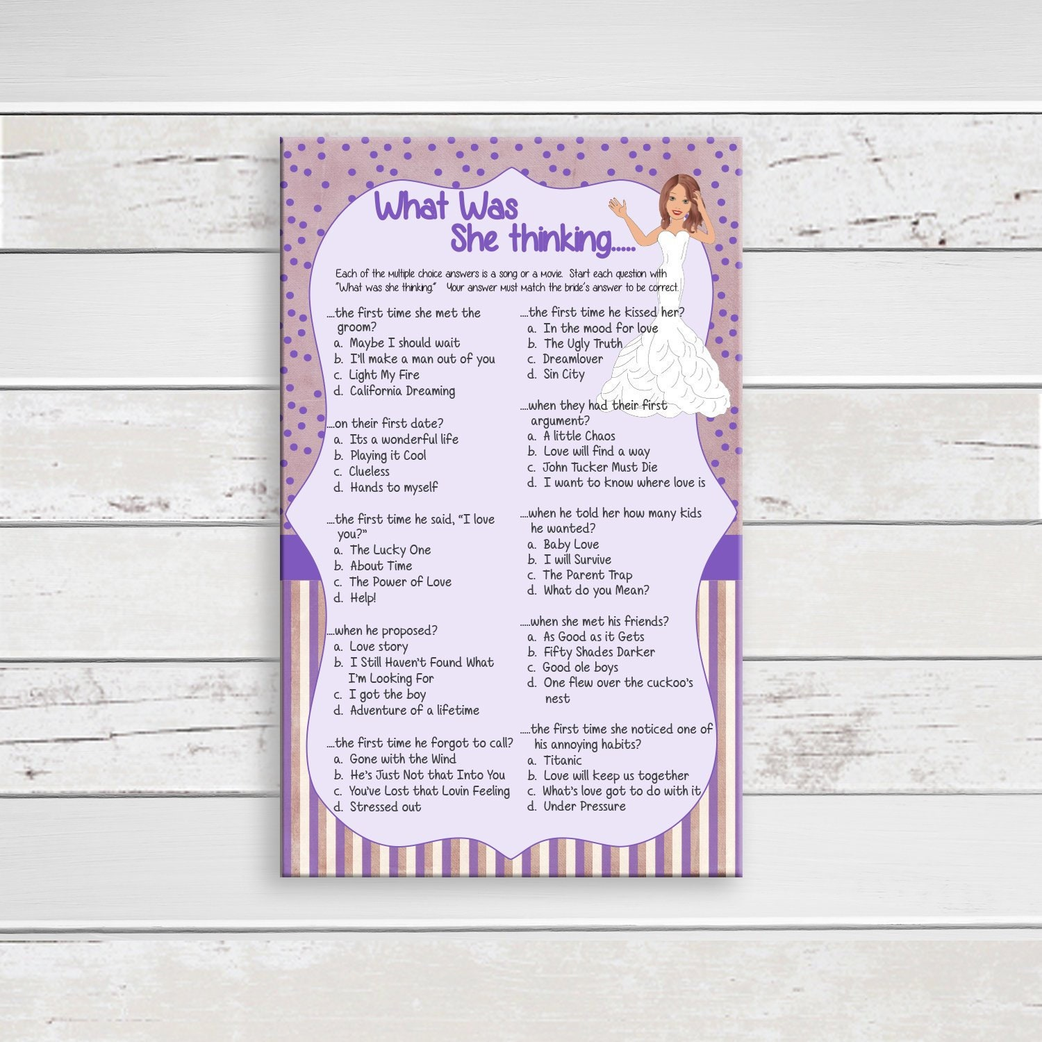 c014abba1bb What was she Thinking Bridal Shower Game Wedding Shower Game