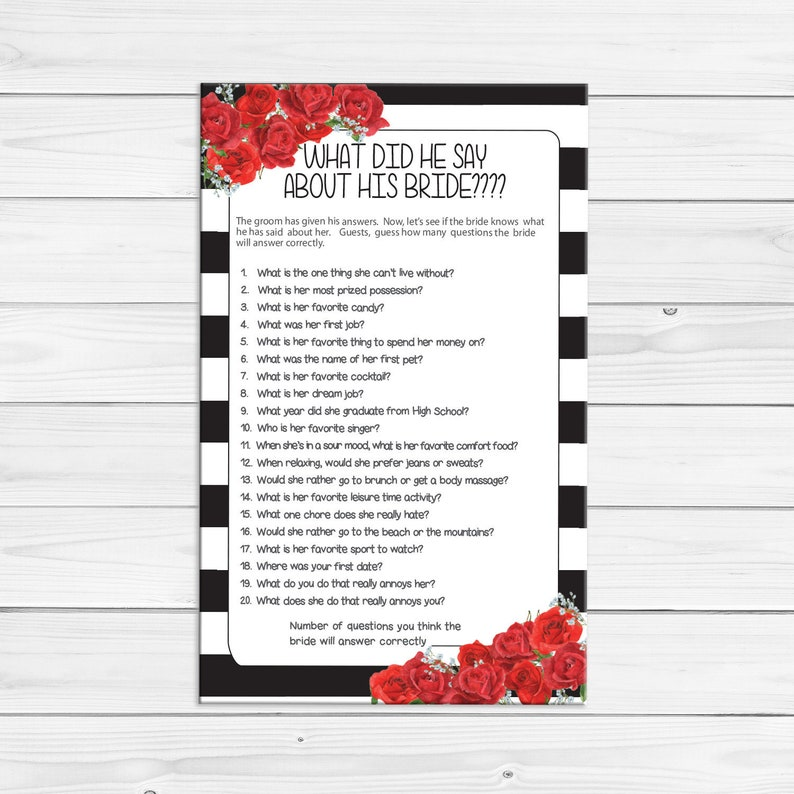 What did he say Bridal Shower Game, Red Roses, Wedding Shower Game, Couples  Bridal Shower Game, Instant Download, D1818