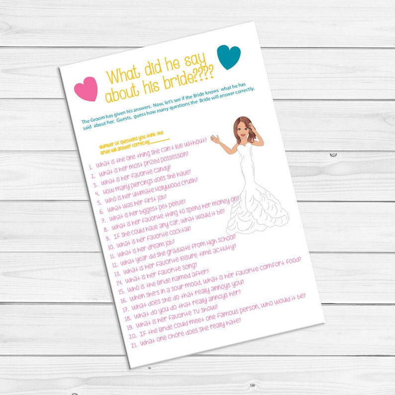 Bridal Shower Game, What did he say about his Bride, Wedding Shower Game,  Couples Shower Game, Instant Download, D402