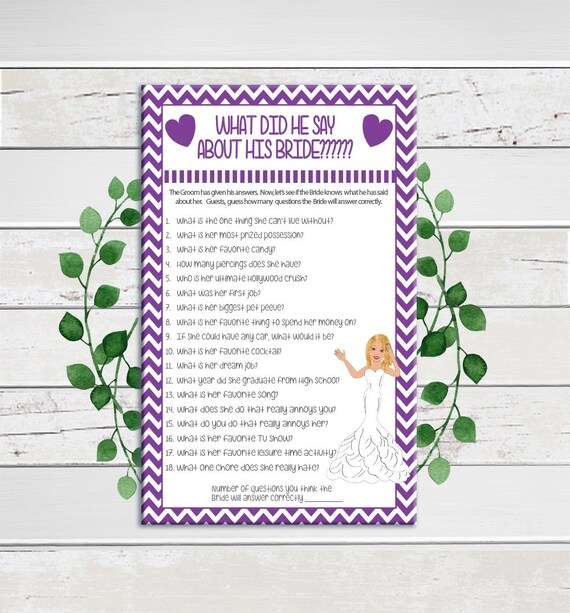 What did he say about his Bride, Bridal Shower Games, Couples Shower Game,  Wedding Shower Game, D1130