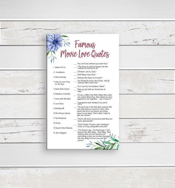 Movie Love Quotes Game Wedding Shower Game Bridal Shower Etsy Magnificent Best Flower With Love Quotes To Download