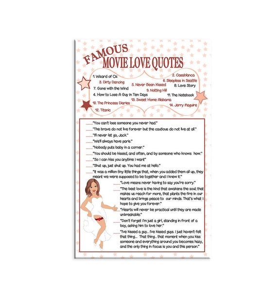 Famous Movie Quotes Bridal Shower Game Sexy Bride Wedding-7905